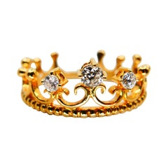 18 Karat Gold Three-Stone Crown Ring with Old Mine Cut Diamonds. 0.22 Carat