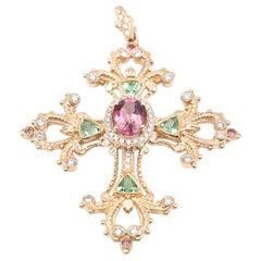 18 Karat Yellow Gold Tourmaline and Diamond Cross Pendant