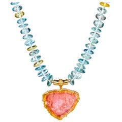 18 Karat Gold Tourmaline Slice Clasp on Aquamarine and Yellow Beryl Necklace
