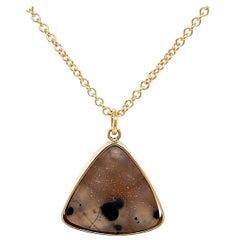 18k Yellow Gold Triangular Druzy Pendant with a 14k Yellow Gold Cable Chain