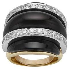 18k Yellow Gold Triple Dome Black Onyx & Diamond Ring