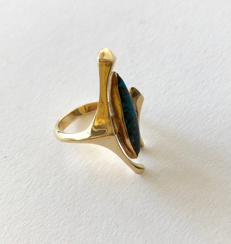 Marquise Cut 18K Yellow Gold Turquoise American Modernist Ring For Sale