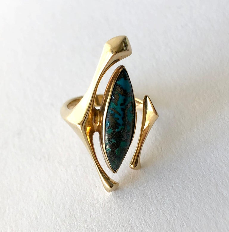 18K Yellow Gold Turquoise American Modernist Ring For Sale 1