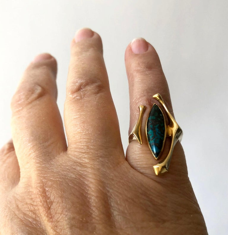 18K Yellow Gold Turquoise American Modernist Ring For Sale 2
