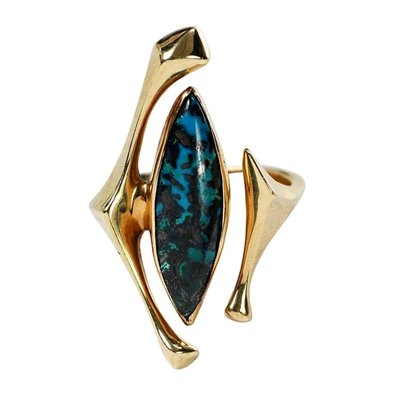 18K Yellow Gold Turquoise American Modernist Ring For Sale
