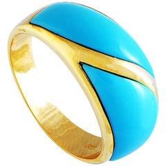 18 Karat Yellow Gold Turquoise Band Ring
