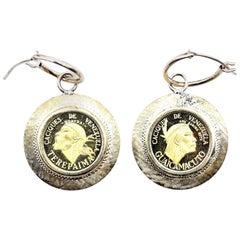 18k Yellow Gold Venezuelan Coin Earring Enhancers with 14k Yellow Gold Huggie Ho