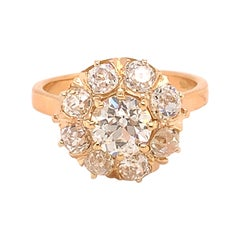 18k Yellow Gold Victorian Genuine Natural Diamond Ring 2.76 Carats TW '#J4896'