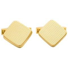 18 Karat Yellow Gold Vintage Cufflinks with Waffle Design