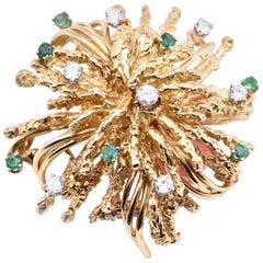 18 Karat Yellow Gold Vintage Diamond and Emerald Textured Flower Pin