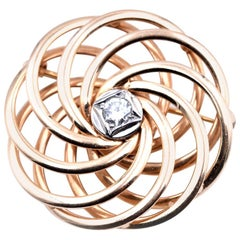 18 Karat Yellow Gold Vintage Diamond Circle Pin