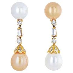 18k Yellow Gold White and Yellow Pearl Diamond Dangling Earrings