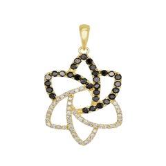 18K Yellow Gold White & Black Diamond Designer Pendant