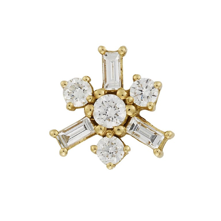 Round Cut 18 Karat Yellow Gold White Diamond