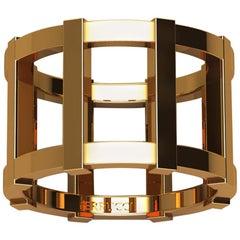 18 Karat Yellow Gold Wide Cage Band Ring