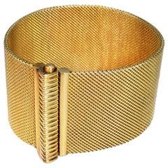 18 Karat Yellow Gold Wide Flexible Bracelet