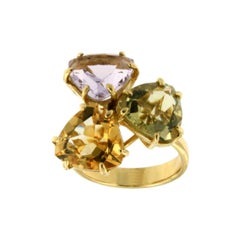 18k Yellow Gold with Amethyst Citrine and Lemon Quartz Ring
