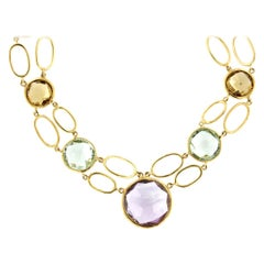 18k Yellow Gold with Colored Stones Bracelet and Necklace Set