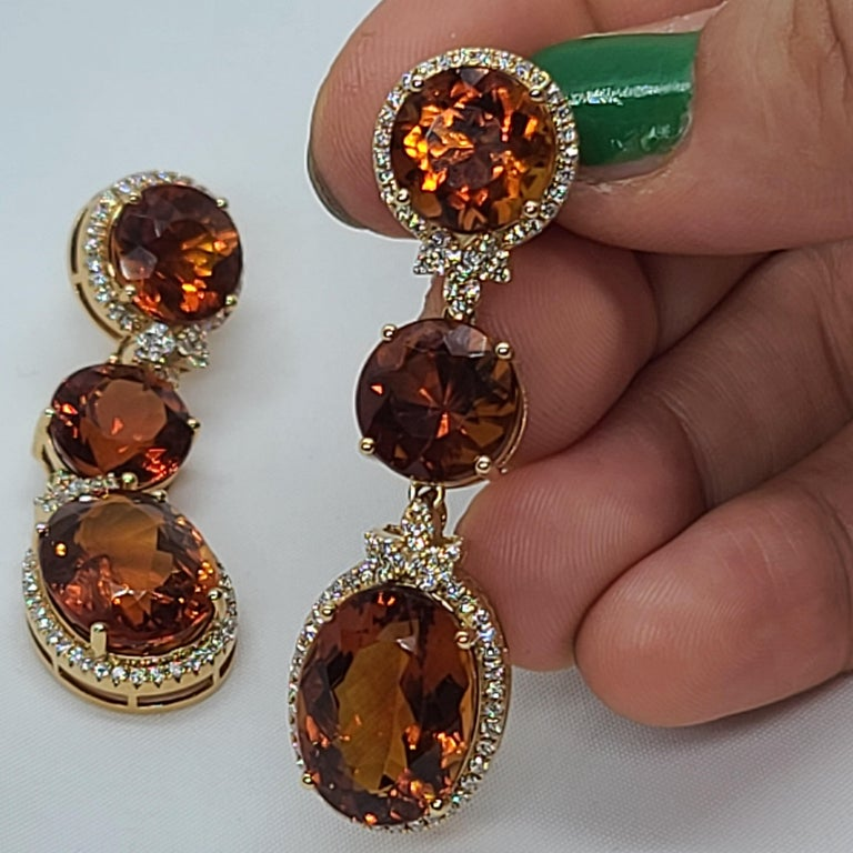 18 Karat Gold with Fire Royal Citrine and Diamonds Drop Dangle Earrings, One For Sale 4