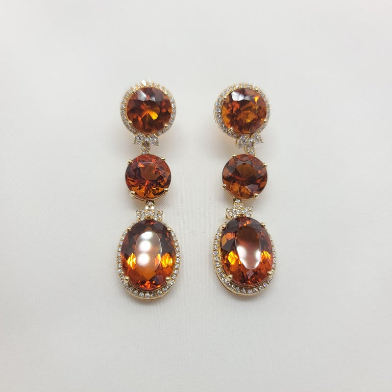 18K Yellow Gold Earrings with FIRE Citrine and Diamonds  18KY - 14.31 gm 184 Round Diamonds - 1.11  Natural Stone - Pure Fire Citrine  Length - 2.2 inch / 5.5 CM