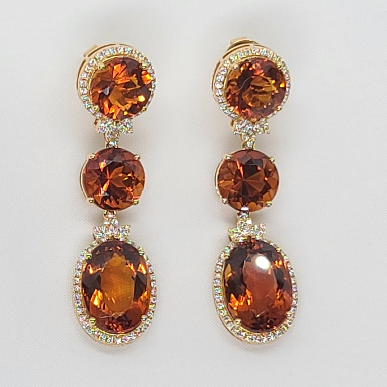 Modern 18 Karat Gold with Fire Royal Citrine and Diamonds Drop Dangle Earrings, One For Sale