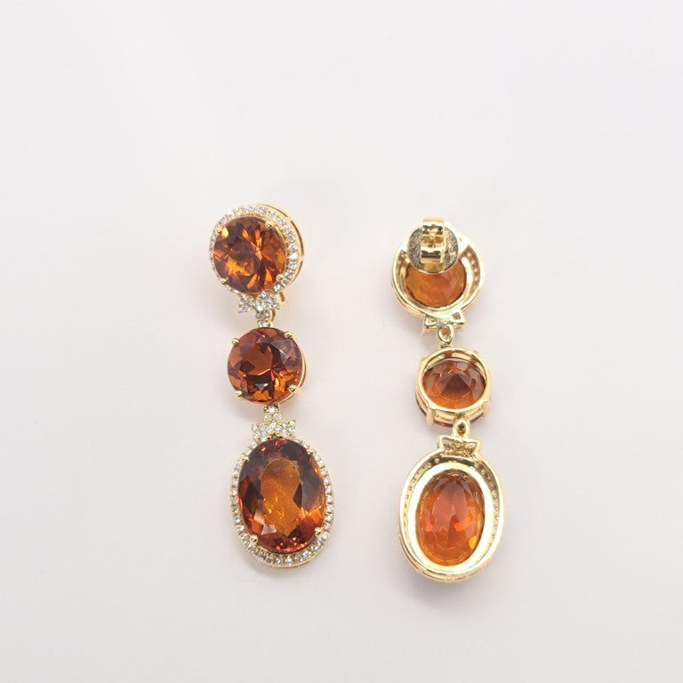 Women's 18 Karat Gold with Fire Royal Citrine and Diamonds Drop Dangle Earrings, One For Sale