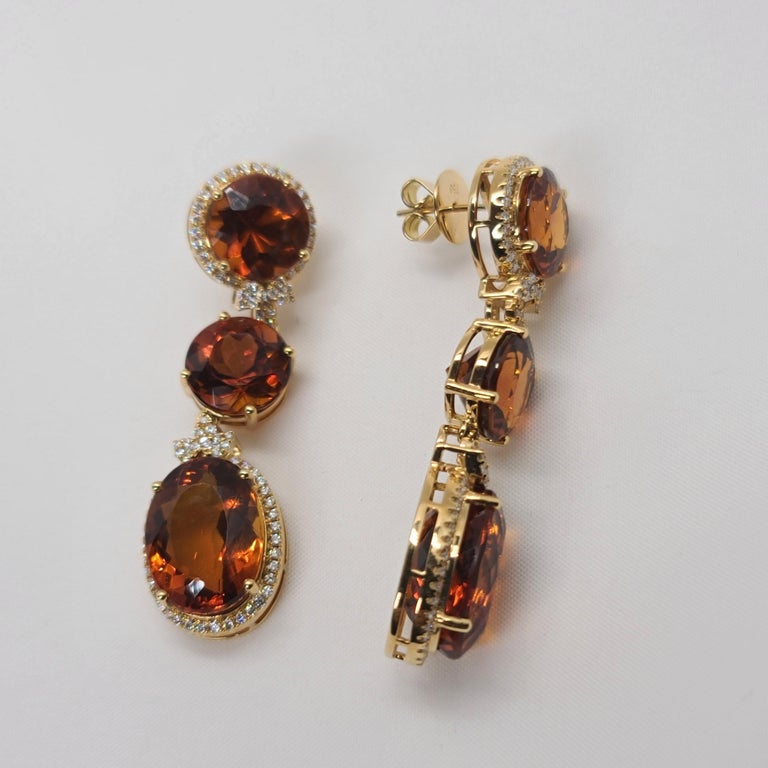 18 Karat Gold with Fire Royal Citrine and Diamonds Drop Dangle Earrings, One For Sale 1