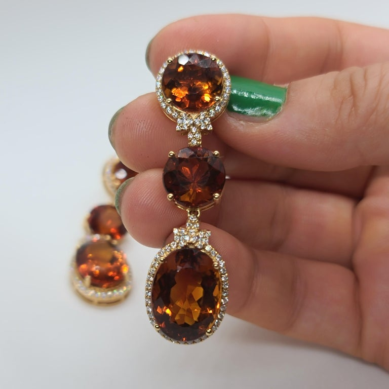 18 Karat Gold with Fire Royal Citrine and Diamonds Drop Dangle Earrings, One For Sale 2