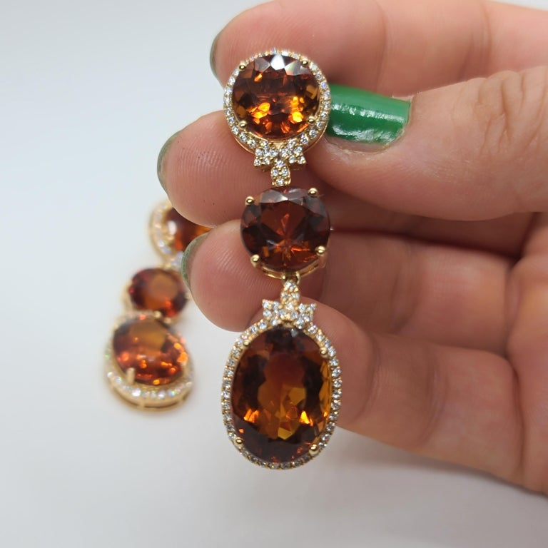 18 Karat Gold with Fire Royal Citrine and Diamonds Drop Dangle Earrings, One For Sale 3