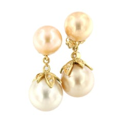 18k Yellow Gold with Golden Pearls and White Diamonds Earrings