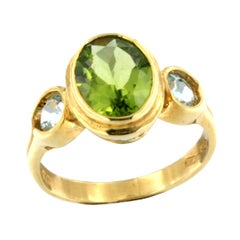18k Yellow Gold with Peridot and Blue Topaz Ring