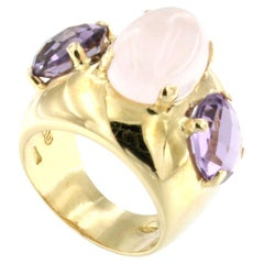 18k Yellow Gold with Pink Quartz and Amethyst Ring
