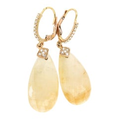 18k Yellow Gold with Yellow Sapphire and White Diamonds Earrings