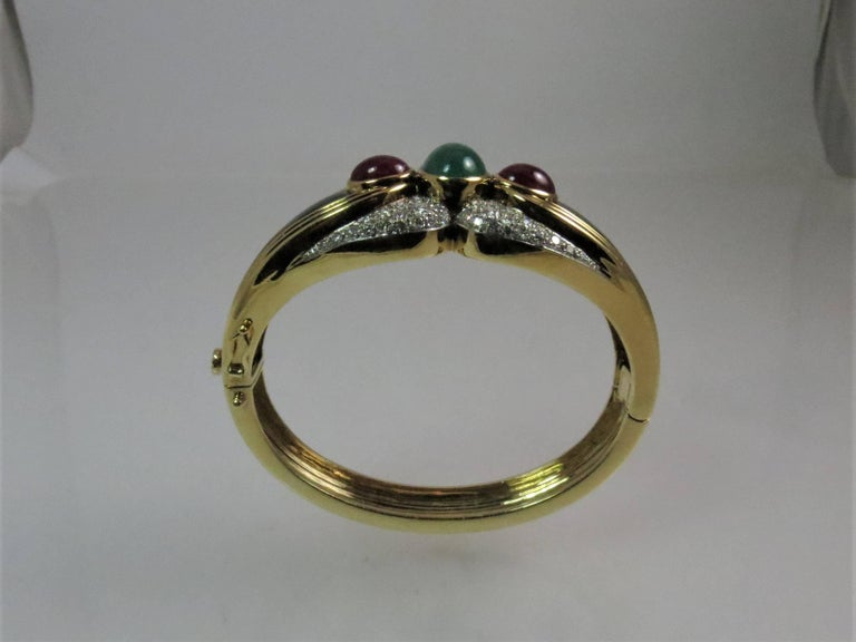 Round Cut 18 Karat Yellow Gold, Platinum Bracelet with Diamonds, Onyx and Ruby and Emerald For Sale
