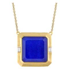 18K Yellow Matte Gold Necklace w/ Lapis Lazuli, White Quartz & Baguette Diamonds