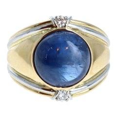 18k Yellow & White Gold Natural Cabochon Sapphire & Diamond Ring 11.11ctw 14.7g