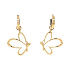 18k Yellow & White Gold Reversible Hoops with 18k Yellow Gold Butterfly Jackets