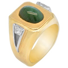 18K Yellow White Gold Trapezoid Cut Diamonds Cabochon Green Tourmaline Mens Ring