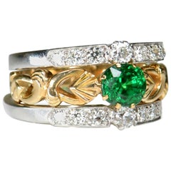 18 Karat Yellow White Gold Tsavorite and Diamond Three Ring Set