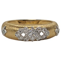 18K Yellow White Gold with Diamonds Cocktail Wedding Ring in Florentine Finish