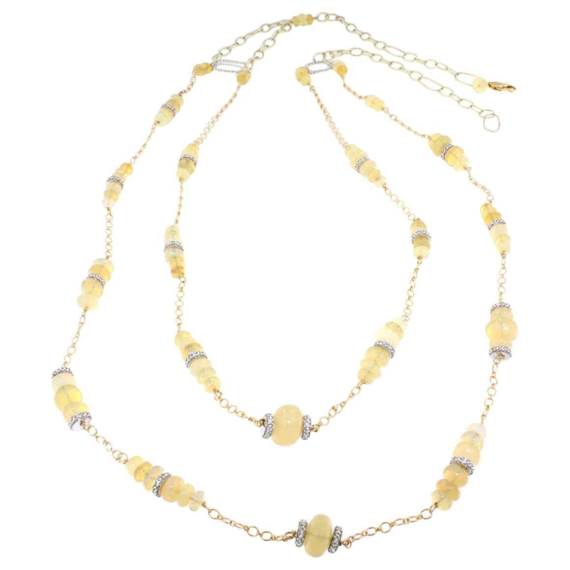 18k Yellow White Gold with Opal White Diamonds Bracelet Earrings Necklace Set