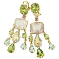 18k Yellow White Gold with Peridot Citrine Quartz Tourmaline Diamonds Earrings