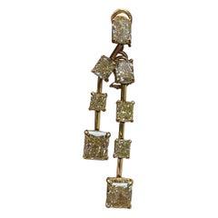 18K YG Drop Earrings with GIA Certified Fancy Yellow Diamonds DTW, 12.84 Carat