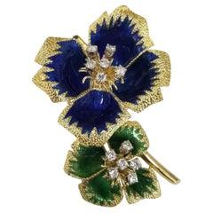 18k Yg Vintage Flower Translucent Blue & Green Textured Enamel & Diamond Brooch