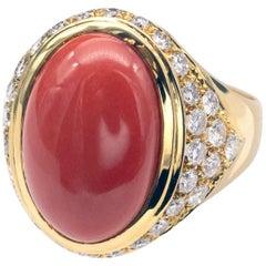18 Karat Gold and Diamond Coral Ring