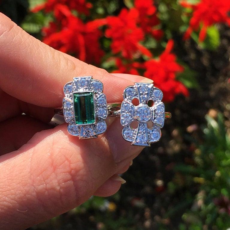 18Karat Gold Baguette Cut Green Tourmaline & Diamond Art Deco Style Cluster Ring For Sale 6