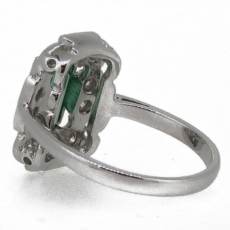 18Karat Gold Baguette Cut Green Tourmaline & Diamond Art Deco Style Cluster Ring In New Condition For Sale In East Grinstead, GB