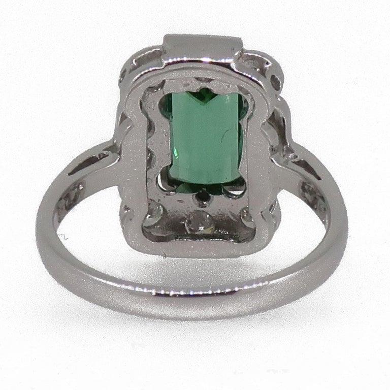 Women's 18Karat Gold Baguette Cut Green Tourmaline & Diamond Art Deco Style Cluster Ring For Sale