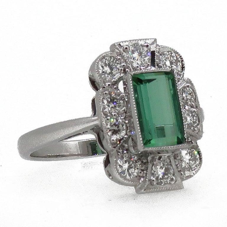 18Karat Gold Baguette Cut Green Tourmaline & Diamond Art Deco Style Cluster Ring For Sale 1