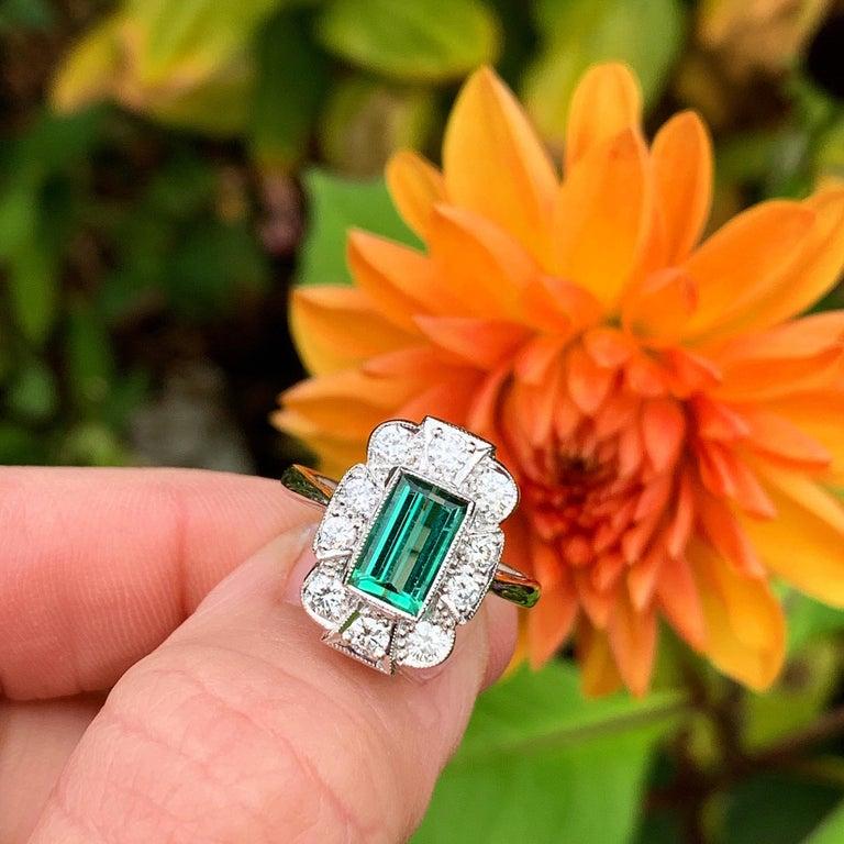 18Karat Gold Baguette Cut Green Tourmaline & Diamond Art Deco Style Cluster Ring For Sale 5